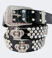 Wholesale women black rhinestone crown leather belt lady crystal women belt