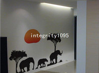PVC african wall decals - African Elephants Trees Sunset Wall Art Decal Animals Paper Sticker