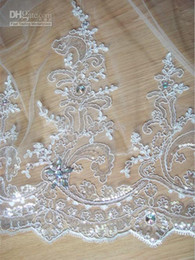 Wholesale Royal Cathedral Train T Elegant m Lace Edged Crystal Rhinestone Comb Wedding Bridal Veil