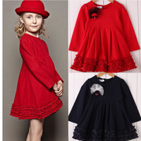 Wholesale New Arrival Baby Girl s Dresses Children s Long Sleeve Pure Color Red Blue D Flowers Wedding Party Princess Dress Kids Wear Pleated Suits