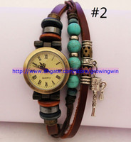 Wholesale 2013 ladies vintage Tibet turquoise Retro charm Prayer beads bracelet watch Rome women Genuine cow leather quartz wristwatches