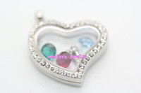 Wholesale 6pcs magnetic clear genuine czech crystal curved heart glass locket pendant for floating charms