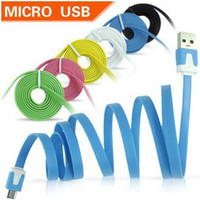 Wholesale 1 Piece Colorful V8 Flat Micro USB Cable Noodle M FT Data Sync Charger Cord Charging Universal For Samsung S3 S4 HTC Blackberry Nokia LG