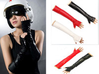 Wholesale Fashion Sexy Girl Women s Opera Costume Long Faux Leather Gloves Fingerless Cm With Tracking Number