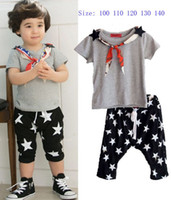 Boy Summer 100% Cotton 2013 Summer Baby Children Sets Boys Short Sleeve Tops And Star Shorts With Scarf Set Kid Clothing