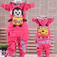 Wholesale Retail sets Spring autumn Boys Girls baby clothing Monkey Long sleeve Children s sports suit baby clothes children suits