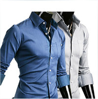 Wholesale 2908 HOT New Fashion Slim casual solid color stickers Pippo point Men s Long Sleeve Shirts Shirt