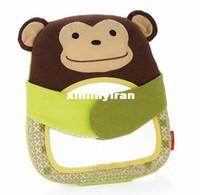White bear hide - child baby Hug and Hide Activity Stroller mirror Toy monkey