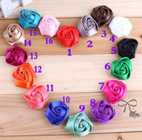 Wholesale NEW Satin Roses Flowers Rosette Flowers For Baby headbands DIY Rose flower Accessory