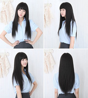 Wholesale 2015 New Black Womens Long Straight Full Hair Clip Wigs Cosplay Human Hair Wig Neat Bangs JF207