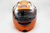 Wholesale Neverland Motorcycle Helmets Full Face Orange ABS Motocross Undrape Face Moto Racing Road Flip Up Dual Shield Sun Visor Sizes