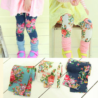 Wholesale Korean Children Floral Leggings - Children Leggings Pants For 2015 Spring Autumn Korean Pure Cotton Big Flower Print Girls Floral Leggings 100-140 Kids Leg Wear QS252