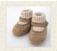 Handknit baby girl shoes cotton yarn Mary Jane crochet infan...