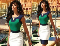 Wholesale 2015 Woman fashion Mosaic Sleeveless Vintage Colorblock Celeb Style Keyhole Bodycon Stretch Party Pencil Party Patchwork Sheath Prom Dress