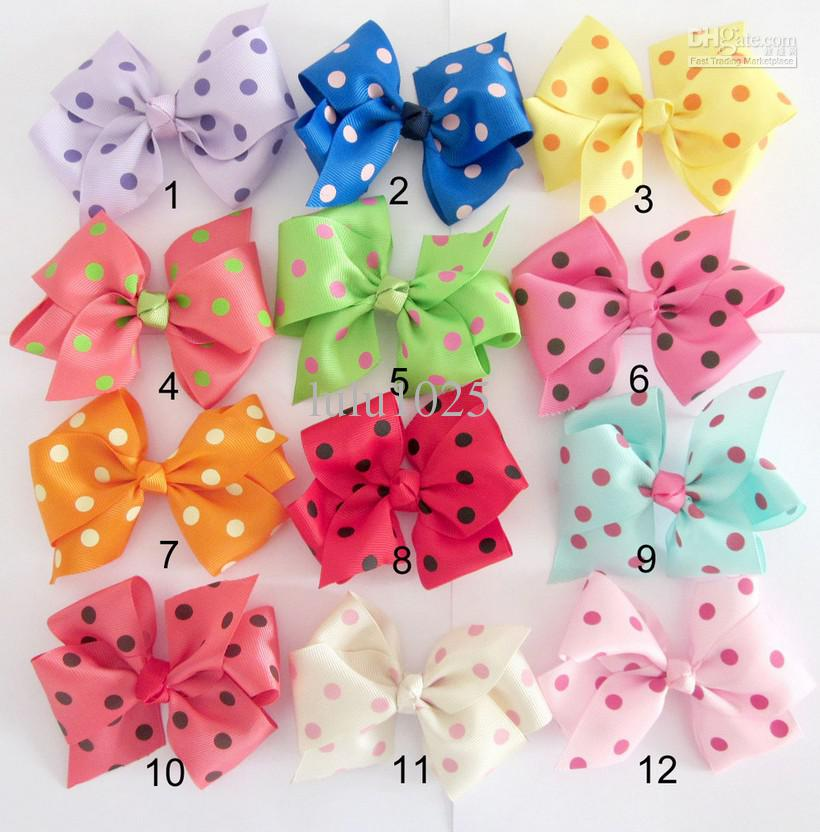 *12cm Diy Baby/Girl Handmade Dot Bow,Can Be Equipped With ...