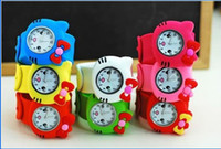 Wholesale LOVELY Cartoon Animal Slap Snap On Silicone Wrist Watch Boys Girls Children Kids Fashion Kids Watch Kitty Watch DHL
