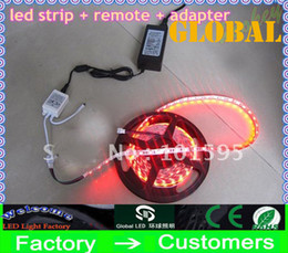 Wholesale Best Price LED Strip light M SMD RGB Flexible NONWATERPROOF With key IR Remote Controller With V A Power Supply Adapter V