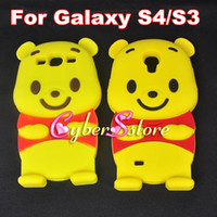 Wholesale 3D Cute Bear Winnie The Pooh Soft Silicon Silicone Case Cover for Samsung Galaxy S4 S3 i9500 I9300