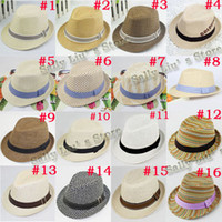 Boy Summer Fedoras 16 Designs Fashion Children Hat Straw Hat Baby Fedora Hat Infant Cowboy Hat Kids Fedoras Dicers 10pcs