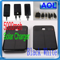 Wholesale 5000MAH Solar Battery Panel Charger Mobile Power bank External Battery Charger for mp3 mp4 sansung nokia htc
