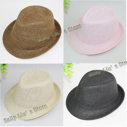 Wholesale DIY Baby Straw Fedora Hat Kids straw fedora cap without ribbon customize children dicers special hats for kids