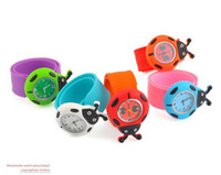 Wholesale Mixed Color Children Wristatch Round Slap Silicone Sport Watches Fashion Kids Watch Ladybug Singpore Post