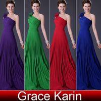 long prom dresses - 2013 Pleated Dress One Shoulder Flower Prom Dresses Long Formal Dress Evening CL3467