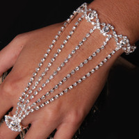 slave bracelets - sexy rhinestone slave hand chain bracelet with finger ring and extender chain piece Free ship via China post