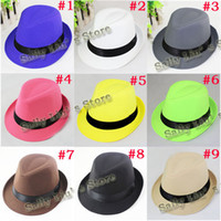 Wholesale 9 Solid color Children Hat Dicers Baby Plain color Fedora Hats Cowboy Hat Kids Jazz Cap FH014