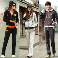 Unisex Long Sleeve Pls mark the size  2014 2 Pieces Women Men Sport Suit Tracksuit Long Sleeve Cardigan Jacket Hoodies+Casual Pant Trousers Set Leisure Outdoor Suit AW0718