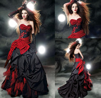 Wholesale Gothic Black and Red Quinceanera Dresses Ball Gowns Sweetheart Ruffles Satin Lace Up Back Corset Top Sixteen Prom Party Gowns