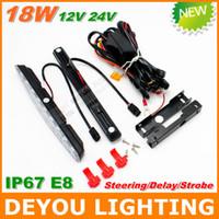 Wholesale Multifunction W LED Daytime Running Light Steering Delay Storbe IP67 E8 V V LED DRL Fog car driving light lamp year warranty