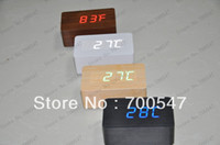 Wholesale SVC210 Brand New Red LED Light Wood Wooden Coffee Housing Digital Sound Activated Alarm Clock DC Input USB Temperature No B