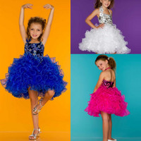 Reference Images Girl Beads Cute Halter Little Flower Girl Ball Gown Backless Mini Short Ruffles Organza Sequins Girl's Pageant Dresses 42771