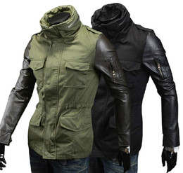 Wholesale New men s Jacket Leather sleeve design Jacket motorcycle Jacket zipper casual Jacket Coat men s Outwear Army Green
