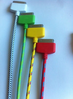 Wholesale colorful rope cable M high quality red yellow green white black for iphone4 s iphone s cable