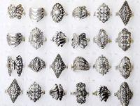 Wholesale 30pcs Jewellery Bulk Mixed Tibet Silver Tone Rings Vintage Style F08
