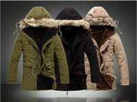Wholesale mens fur collar jacket winter hooded parka medium long fleece coats men spring Khaki Black Army green