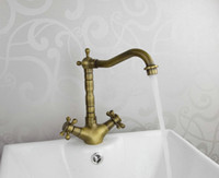 Brass antique tap handles - Contemporary New Bathroom Sink Faucets Double handle antique brass Taps HJ2598