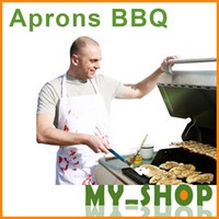 Wholesale Funny BBQ Aprons Men Butcher Cotton cm Blood Fingerprint Neck Strap Apron Belt Lace Pocket Non Flammable Apron BBQ