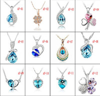 Wholesale Rhinestone Fashion Jewelry Silver Pendant Crystal Austrian Crystal Pendant Full Diamond Peach Heart Clover Necklace