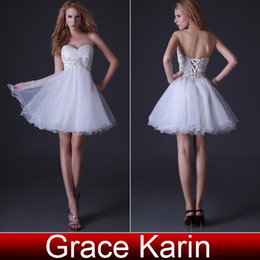 Wholesale New Sexy Sweetheart Knee Length Ball Gown White Prom Dresses Organza Homecoming Dress with Beaded Applique CL3820