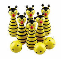Wholesale Global Hot Wooden animal style bowling educational toys new Free shopping pieces