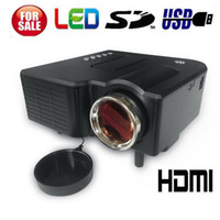 Wholesale Mini LCD Image System LED Projector Home Theater with HDMI AV in VGA SD Slot USB Speaker and Remote Control