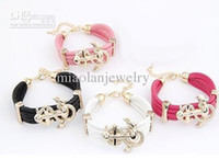 Wholesale 5pcs MOQ Euro American Fashionable Bohemia Exaggerated Anchor Multilayer leather alloy bracelet