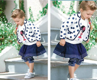 Girl Spring / Autumn Long 2014 Autumn Children Clothing Suit Baby Girl's 3pcs Sets Girl College Wind Navy White Polka Dot Cardigan Coat + Shirt + Skirt Leggings Pants
