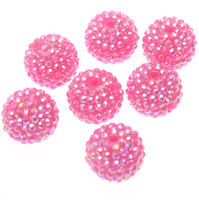 Wholesale 22mm Hot pink resin AB rhinestones ball beads for chunky necklace
