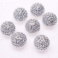 resin - Jewelry silver resin rhinestones ball beads mm for chunky necklace