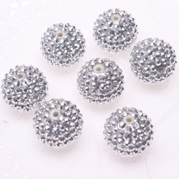 Wholesale Jewelry silver resin rhinestones ball beads mm for chunky necklace