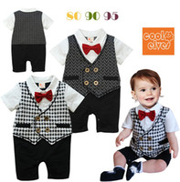 Boy Summer Short Sleeve 2013 Summer Baby One Piece Romper Newborn Boys Houndstooth Short-sleeved Bowtie Romper Bodysuits Babywear Overalls Infant Toddlers Clothes